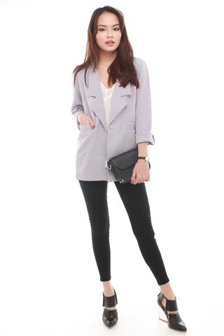 *BACK IN STOCK* Oversized Pocket Blazer in Dusty Grey