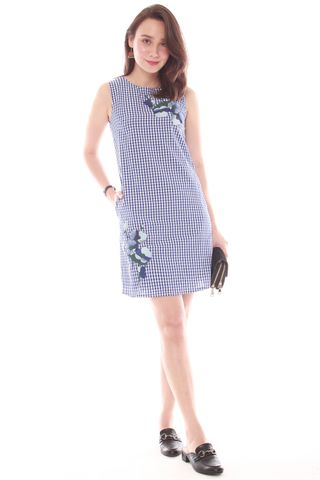 Embroidery Gingham Shift Dress in Light Blue