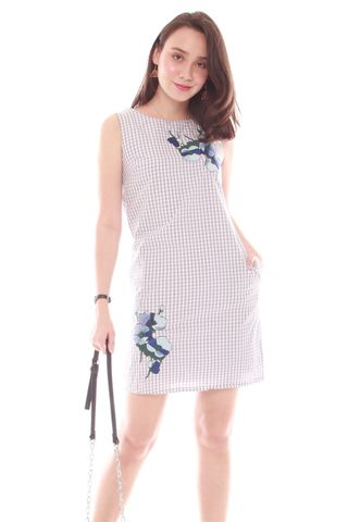 Embroidery Gingham Shift Dress in Light Grey