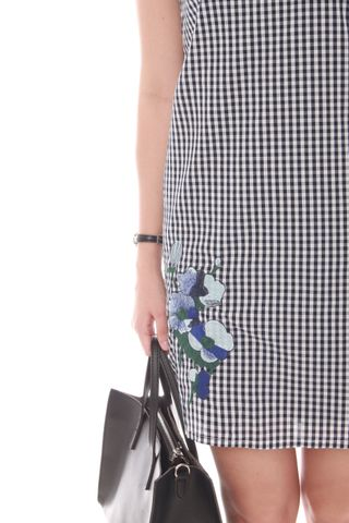 Embroidery Gingham Shift Dress in Navy