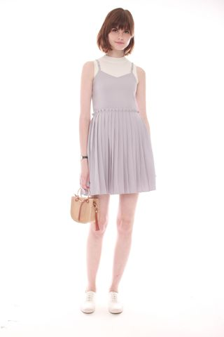 *BACK IN STOCK* Thick Pleated Slip Dress in Dusty Grey