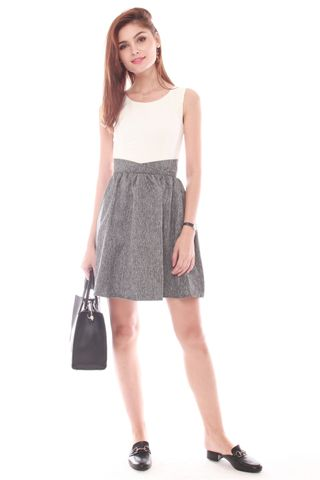 Colourblock Front Twist Work Dress in Grey