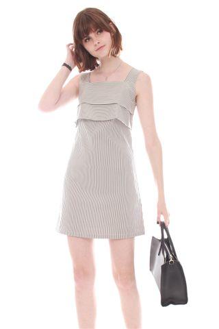 *BACK IN STOCK* ACW Double Tier Pinstripe Dress in White