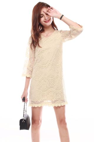 ACW Lace Bell Sleeve Shift Dress in Champagne