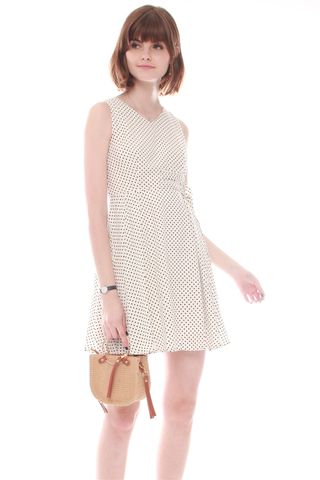 Double Buckle Swing Dress in White Dots