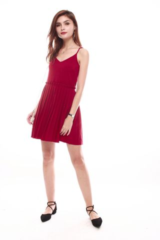 Thick Pleated Slip Dress in Wine