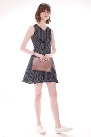 Double Buckle Swing Dress in Black Dots