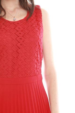 Lace Accordian Pleats Midi Dress in Wine