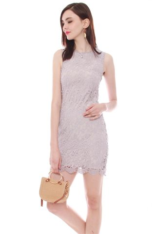 *BACK IN STOCK* ACW Fine Crotchet Lace Shift Dress in Dusty Grey