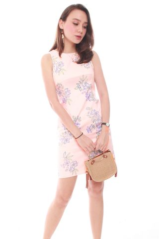 ACW Pastel Floral Shift Dress in Baby Pink