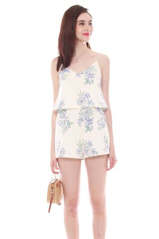 *BACK IN STOCK* ACW Pastel Floral Tiered Romper in White