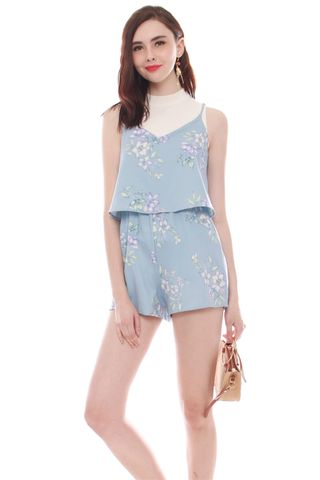 *BACK IN STOCK* ACW Pastel Floral Tiered Romper in Powder Blue