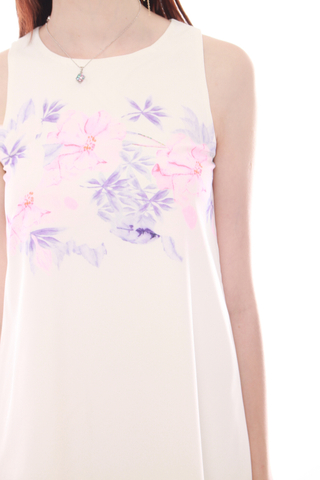 Watercolour Floral Trapeze Dress in Purple