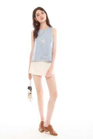 ACW Pastel Floral Shell Top in Powder Blue
