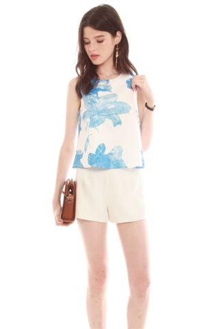 Watercolour Floral Top in Blue