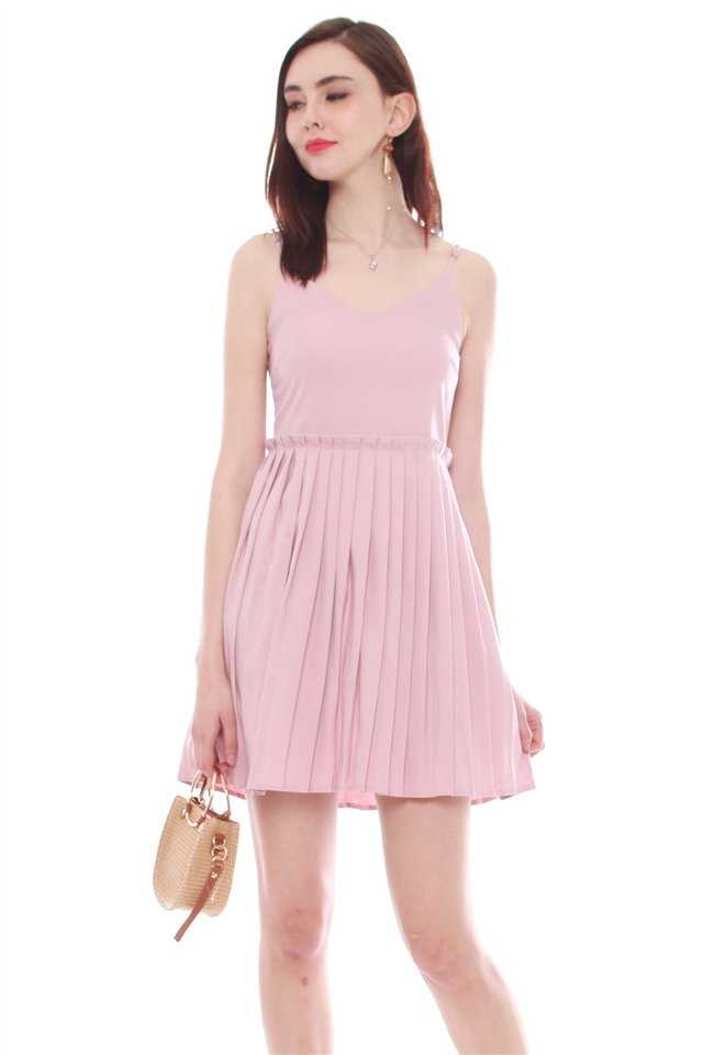 Thick Pleated Slip Dress in Dusty Pink