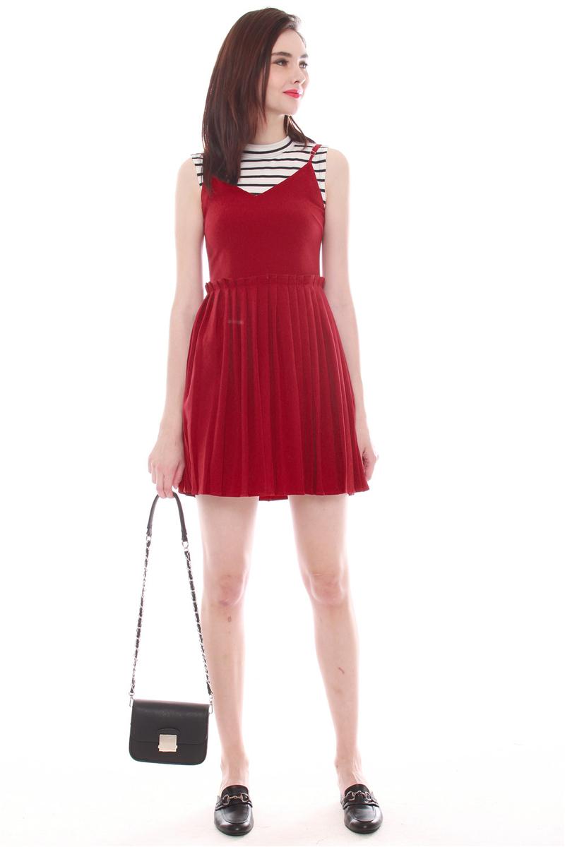 8641775aef1b4 Thick Pleated Slip Dress in Wine   Anticlockwise