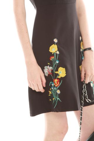Embroidery Detail Fit and Flare Dress in Black