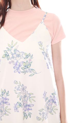 ACW Pastel Floral Slip Dress in White