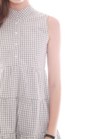 *BACK IN STOCK* ACW Button Down Tiered Babydoll Dress in Grey Gingham