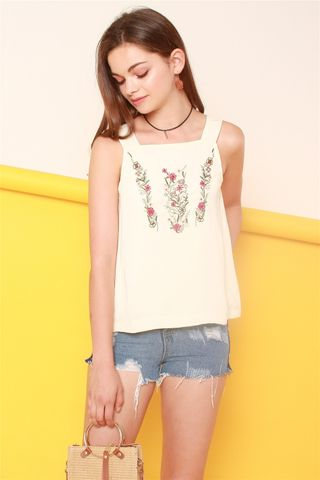*BACK IN STOCK* ACW Embroidered Roses Thick Strap Top in Cream
