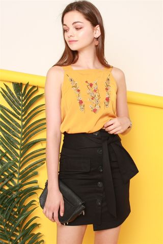 *BACK IN STOCK* ACW Embroidered Roses Thick Strap Top in Mustard