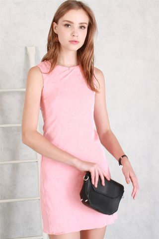 ACW Feather Mesh Overlay Shift Dress in Dusty Pink