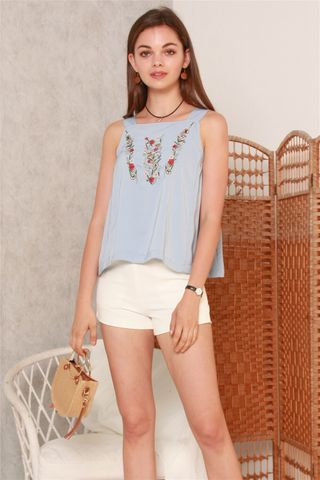*BACK IN STOCK* ACW Embroidered Roses Thick Strap Top in Sky Blue