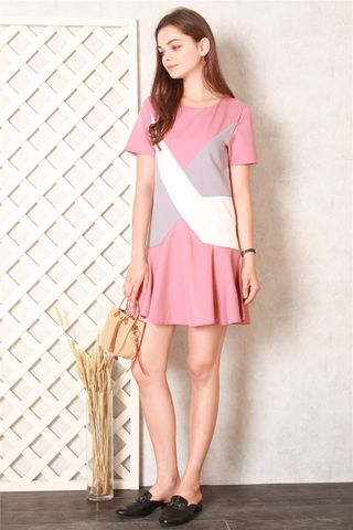 Colourblocking Dropwaist Dress in Mauve