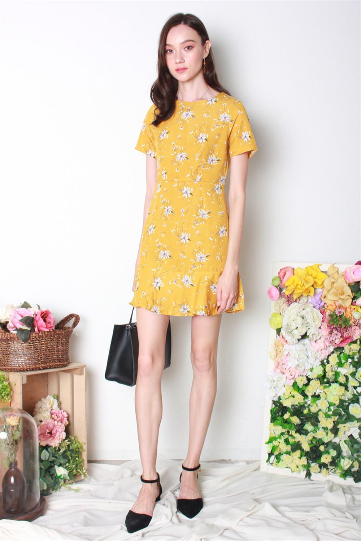 1471927d9900 ACW Summer Floral Sleeved Flutter Hem Dress in Daffodil