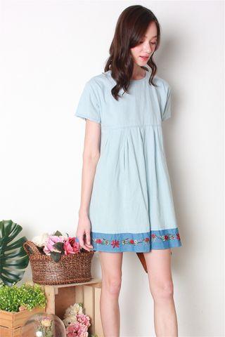 ACW Denim Embroidery Babydoll Dress in Light Wash