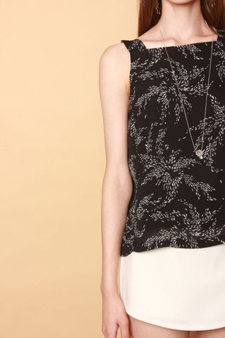 ACW Wheat Leaves Neckline Top in Black
