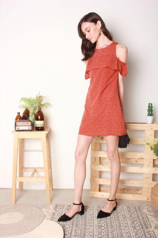 Polka Dot Cold Shoulder Dress in Rust