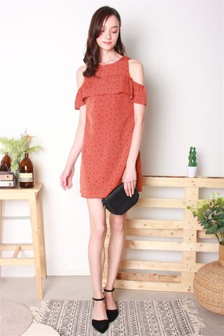 Polka Dot Cold Shoulder Dress in Rust