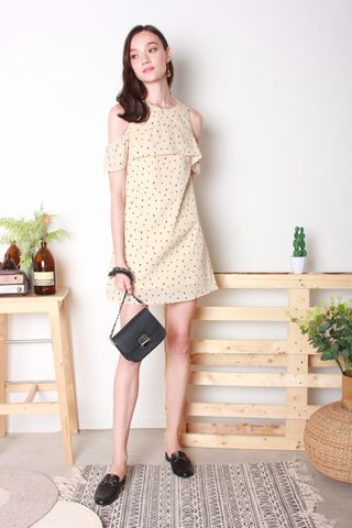 Polka Dot Cold Shoulder Dress in Cream