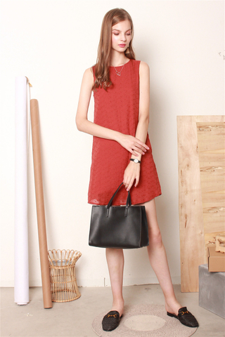 ACW Eyelet Trapeze Dress in Terracotta