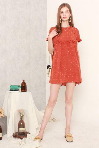 Polka Dot Frill Sleeve Romper Dress in Rust