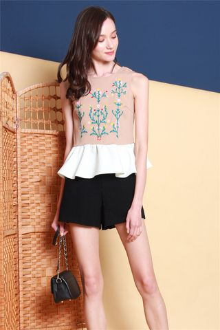 ACW Embroidery Colourblock Peplum Top in Dusty Pink