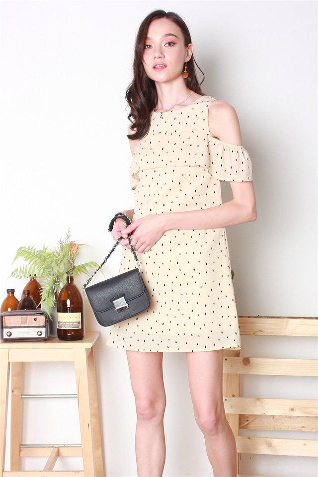 Polka Dot Cold Shoulder Dress in Cream