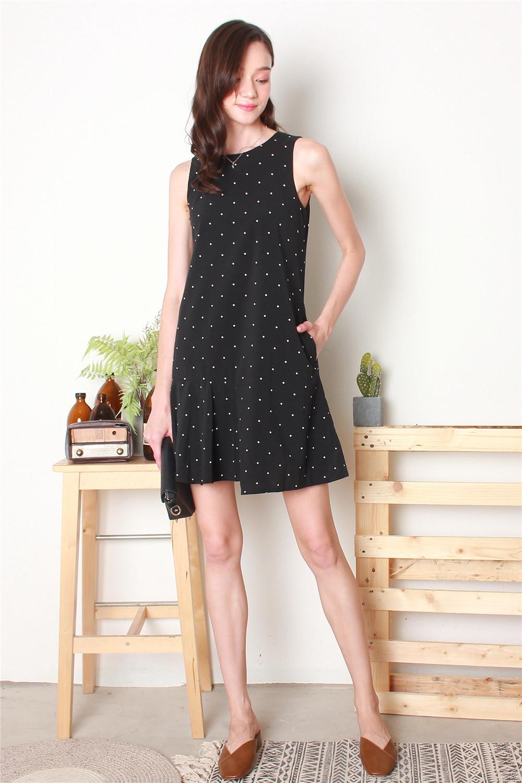 b2c63748406f ACW Polka Dot Trapeze Dress in Black