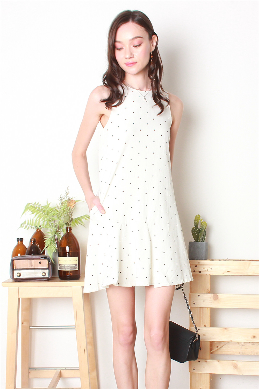 8402c8389a1d ACW Polka Dot Trapeze Dress in White