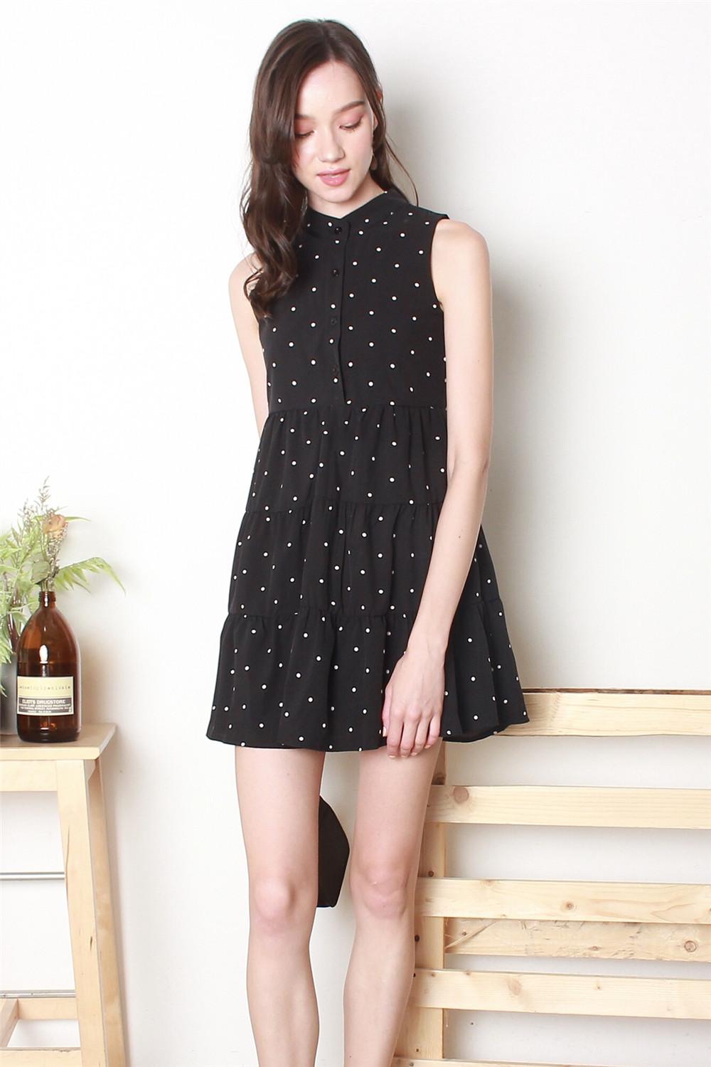 902f7d3a417b *BACK IN STOCK* ACW Button Down Tiered Babydoll Dress in Polka Dot