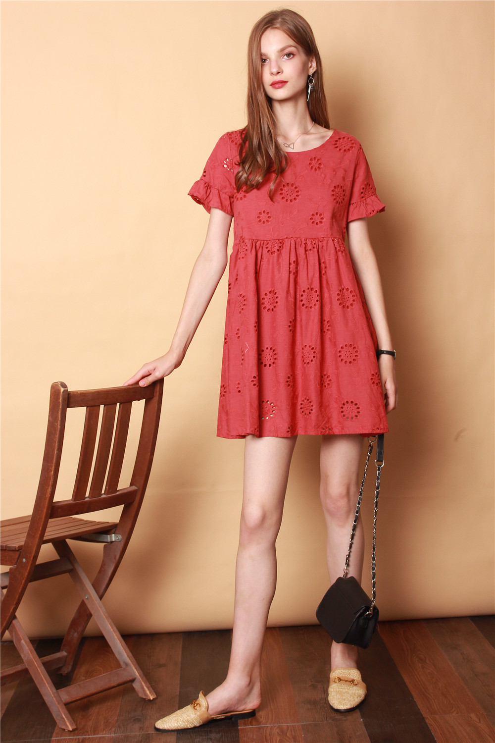 2a616d67a1c1 Daisy Embroidered Babydoll Dress in Rosewood