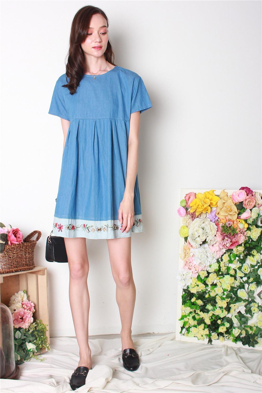 1afe5ed56b11 ACW Denim Embroidery Babydoll Dress in Mid Wash