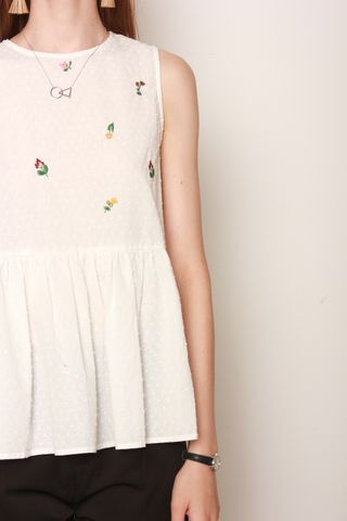 ACW Embroidered Florals Peplum Top in White