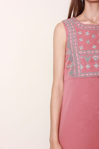 ACW Rustic Embroidery Trapeze Dress in Rosewood