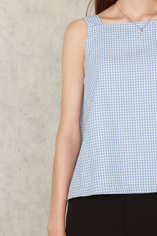 *BACK IN STOCK* ACW Gingham Neckline Top in Sky