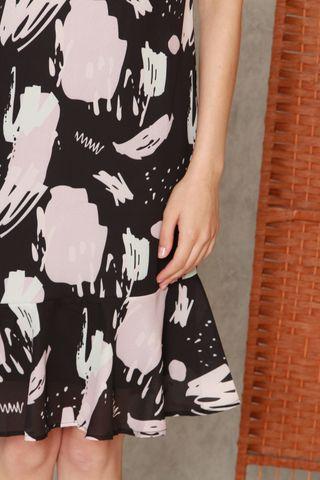 ACW Block Prints Drop Hem Midi Dress in Black