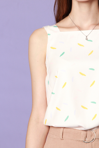 ACW Coloured Brushstrokes Neckline Top in White