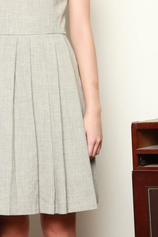 *BACK IN STOCK* ACW Corner Pleats Tweed Work Dress in Grey